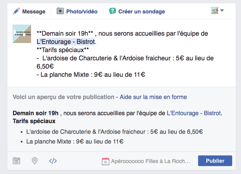 mise en forme publication facebook